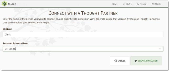 Create Thought Partner Invite