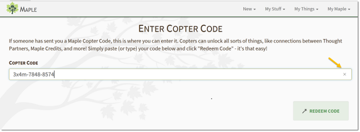 Enter Copter Code page